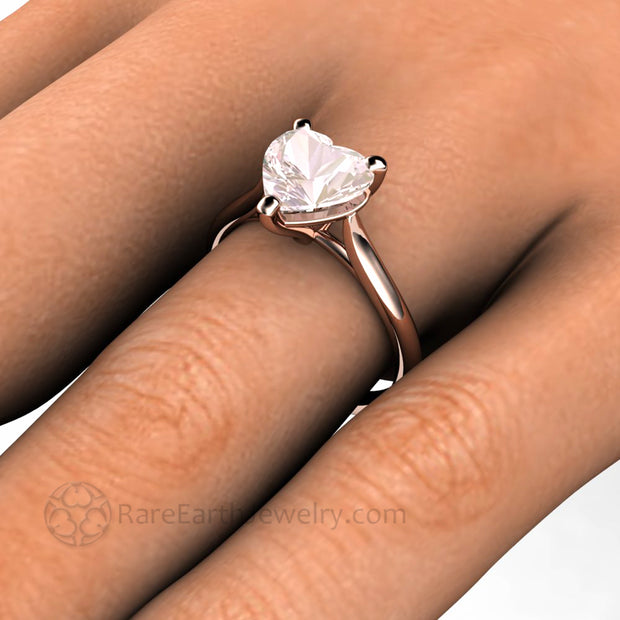 Morganite Ring on the finger Promise Ring with Heart Custom Engagement Ring by Rare Earth Jewelry