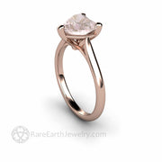 Morganite Rose Gold Engagement Ring Simple Heart Solitare Ring handmade by Rare Earth Jewelry