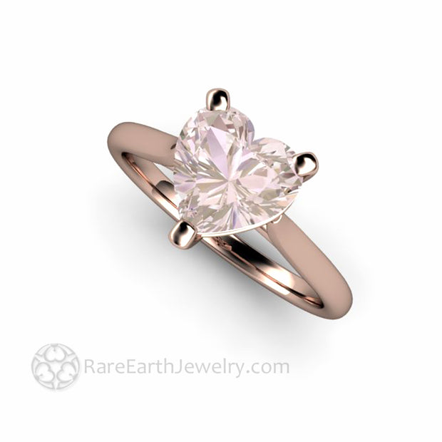 Morganite Solitaire Ring Light Pink Gem Colored Gemstone Engagement Rings bespoke by Rare Earth Jewelry