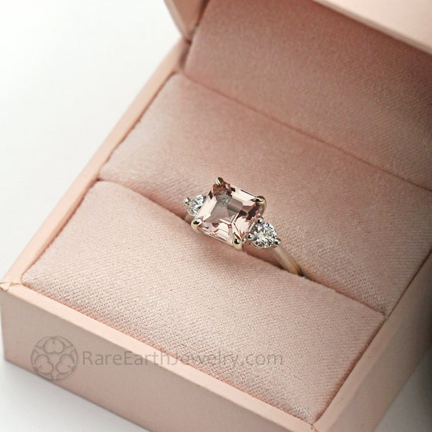 Morganite Three Stone Engagement Ring Asscher Cut Peach Morganite Engagement Ring Rare Earth Jewelry