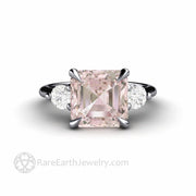 Morganite and Diamond Ring in Platinum 3 Stone Style with Natural Pink Gemstone