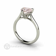 Morganite white gold solitaire engagement ring 8mm heart by Rare earth Jewelry