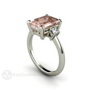 Morganite and Diamond Anniversary Ring 3 Stone Setting Emerald Cut White Gold Rare Earth Jewelry