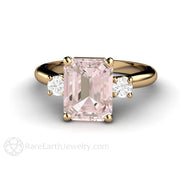Rare Earth Jewelry 9x7 Emerald Morganite Ring with Round Diamond Accents 14K or 18K Gold