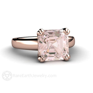 Rare Earth Jewelry 3ct Asscher Cut Morganite Solitaire Engagement Ring Double Prong Rose Gold Setting
