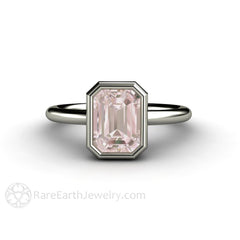 Emerald Cut Morganite Solitaire Engagement Ring 14K White Gold Rare Earth Jewelry