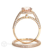 2ct Round Cut Natural Morganite Engagement Ring and Wedding Band Diamond Halo Setting Rose Gold Rare Earth Jewelry