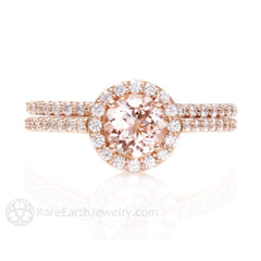 Morganite Wedding Set Rose Gold Round Cut Halo Rare Earth Jewelry