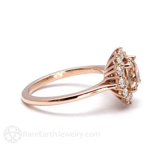 Morganite Bridal Ring Cluster Setting 14K or 18K Gold Rare Earth Jewelry