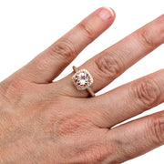 Morganite Ring on the Hand 2CT Diamond Halo by Rare Earth Jewelry