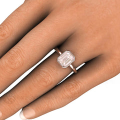Bezel Emerald Morganite Ring on Finger Rare Earth Jewelry