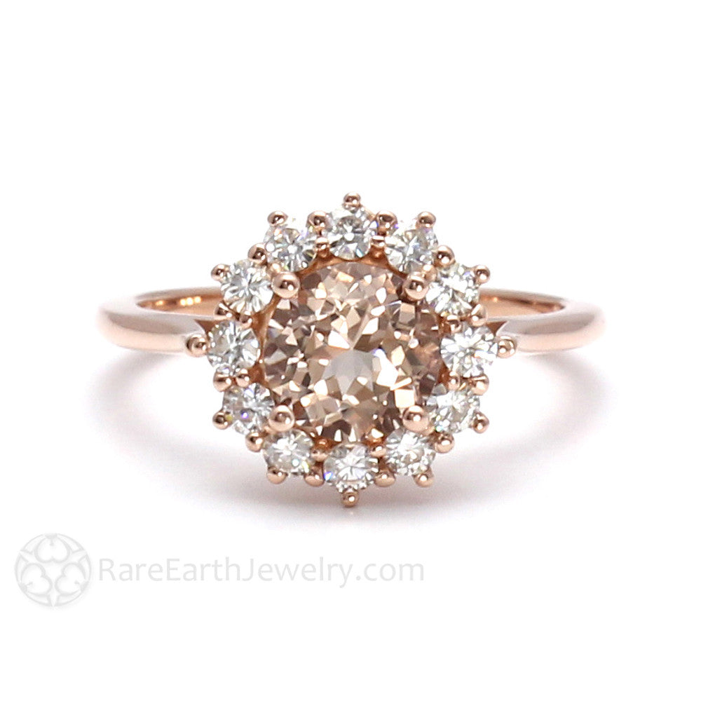 Rare Earth Jewelry Morganite Engagement Ring with Diamond Halo Cluster Rose Gold Setting