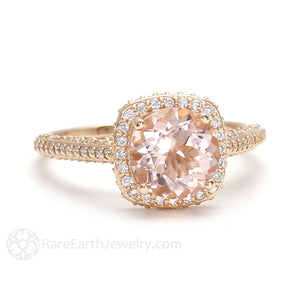 2 Carat Morganite Engagement Ring Pave Diamond Halo by Rare Earth Jewelry