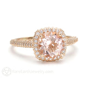 Rare Earth Jewelry Morganite Wedding Ring 2ct Cathedral Halo Engagement with Diamonds