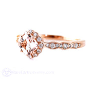 Asscher Morganite Halo Ring 14K Rose Gold Rare Earth Jewelry