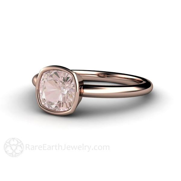 Morganite Ring Cushion Cut Bezel Solitaire Engagement