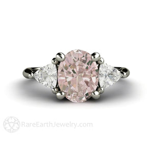 Rare Earth Jewelry Morganite Engagement Ring Oval 3 Stone with Trillion Side Stones