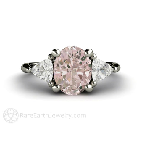 Morganite Engagement Ring Oval 3 Stone with Trillions