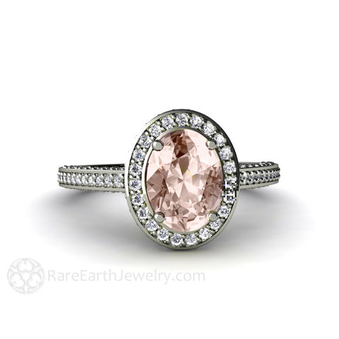 Oval Cut Morganite Engagement Ring with Diamond Halo