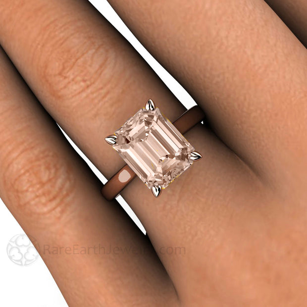 Rare Earth Jewelry Emerald Morganite Solitaire Right Hand Ring on Finger