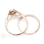 14K Rose Gold Diamond Halo Morganite Bridal Set Rare Earth Jewelry