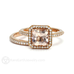 Rose Gold Cushion Morganite Halo Engagement Ring Wedding Set Rare Earth Jewelry