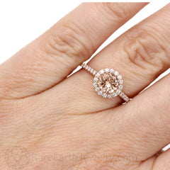 Halo Morganite Right Hand Ring on Finger Rare Earth Jewelry