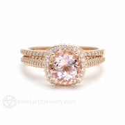 Rare Earth Jewelry 2ct Morganite Wedding Ring Set Diamond Halo 8mm Round Cut