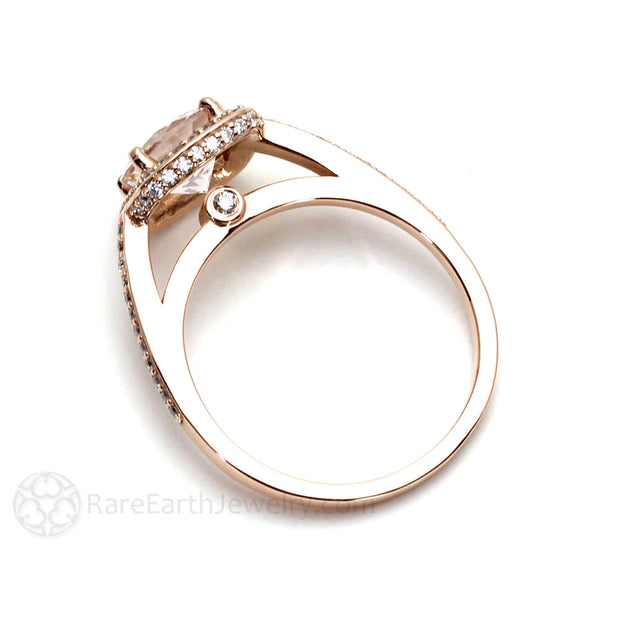 Rare Earth Jewelry Round Cut Morganite Halo Ring Rose Gold Engagement