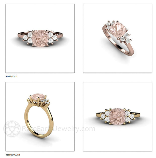 Rare Earth Jewelry Cushion Cut Pink Morganite Ring Side Diamond Accents