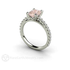 Cushion Cut Morganite and Diamond Solitaire Ring 14K White Gold Rare Earth Jewelry