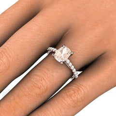Morganite Cushion Cut Engagement Ring on Finger Rare Earth Jewelry