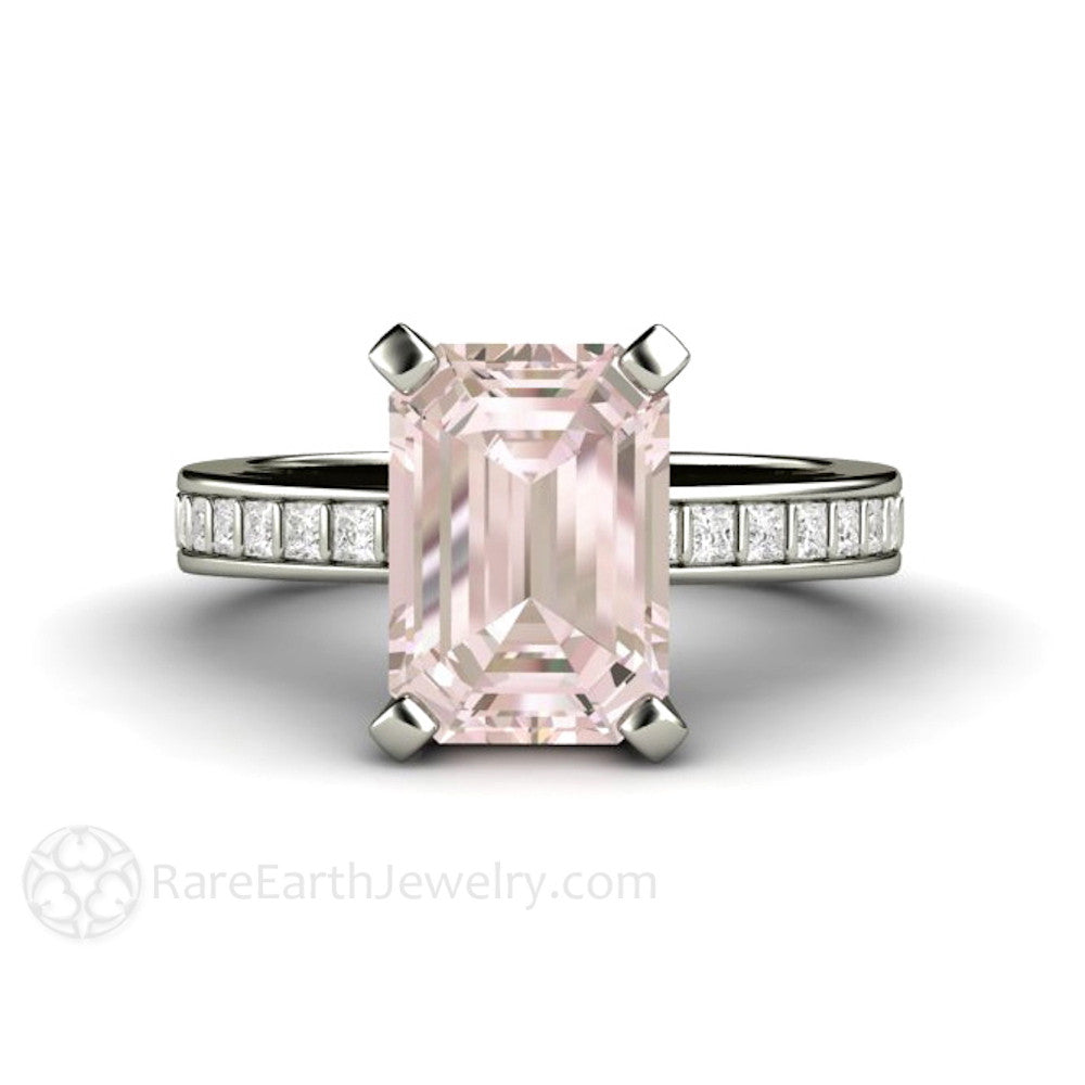 Rare Earth Jewelry Morganite Engagement Ring Emerald Cut Solitaire with Diamond Accent Stones