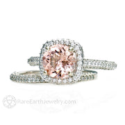 8mm Round Morganite Wedding Ring Set with Diamond Accent Stones 14K White Gold Rare Earth Jewelry