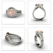 Rare Earth Jewelry Morganite Halo Engagement Ring White Gold Round Cut Bezel Split Shank