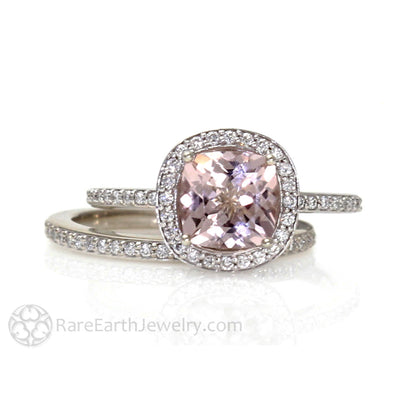 Rare Earth Jewelry Pink Cushion Morganite Halo Wedding Ring Set Diamond Bridal Band 14K Gold