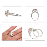 Rare Earth Jewelry Pink Morganite Halo Wedding Ring Set on Finger 14K White