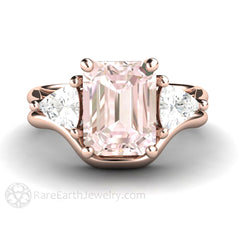 14K Rose Gold Morganite Wedding Set Rare Earth Jewelry