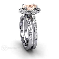 Rare Earth Jewelry Morganite Bridal Set Diamond Halo Setting Oval Cut 14K White Gold