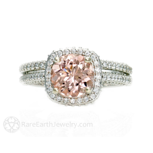 Rare Earth Jewelry Morganite Bridal Set Diamond Halo 14K or 18K Gold 2ct Natural Pink Gemstone