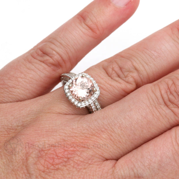 Rare Earth Jewelry Morganite Wedding Ring Set on Finger 14K White Gold 2 Carat Round Diamond Accented
