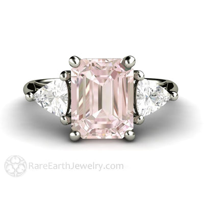 Morganite Engagement Ring 3 Stone Trillion White Sapphires