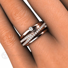 Multi Band Criss Cross Diamond Ring on Finger Rare Earth Jewelry