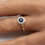 Natural Blue Sapphire and Diamond Cluster Ring in Yellow Gold on the Finger Custom Made by Rare Earth Jewelry