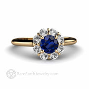 Natural Blue Sapphire Engagement Ring with Diamonds Floral Flower Shaped Setting custom made by Rare Earth Jewelry