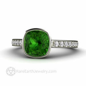 Natural Green Tourmaline Ring with-Diamonds Unique Green Stone Engagement Ring Bespoke Jewelry by Rare Earth Jewelry