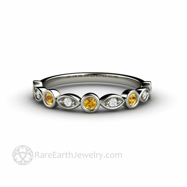Natural Yellow Sapphire Wedding Ring with Diamonds 14K White Gold Bezel Setting - Rare Earth Jewelry