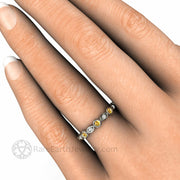 Natural Yellow Sapphire and Diamond Wedding Ring on Finger 14K Gold Bezel Setting - Rare Earth Jewelry