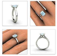 Aquamarine Solitaire Bridal Ring on Finger Rare Earth Jewelry