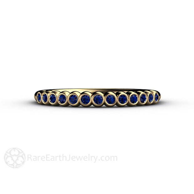 Blue Sapphire Stackable Band Bezel Setting Rare Earth Jewelry
